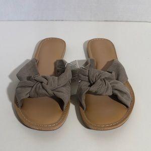 Taupe Knot Slide Sandals